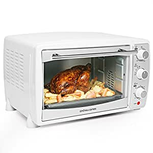 Andrew James Mini Oven with Grill | 20 Litre Fast Heating Toaster Oven | 5 Cooking Functions & 60 Minute Timer | Includes Grill Rack & Baking Tray | 1500W | White