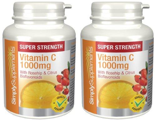 Vitamine C 1000mg + Eglantier & Bioflavonoïdes de Citrus|Pour le système immunitaire|360 comprimés