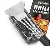 Spazzola per griglia barbecue pulizia raschietto, raschietto in acciaio INOX setole metalliche free barbecue Cleaner 45,7cm manico lungo 360° Clean 100% antiruggine grill Brush Safe for ceramica porcellana acciaio ferro