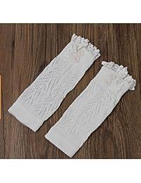 DROVE - Calcetines de Punto de Ganchillo de algodón con Encaje para Mujer, Color Blanco