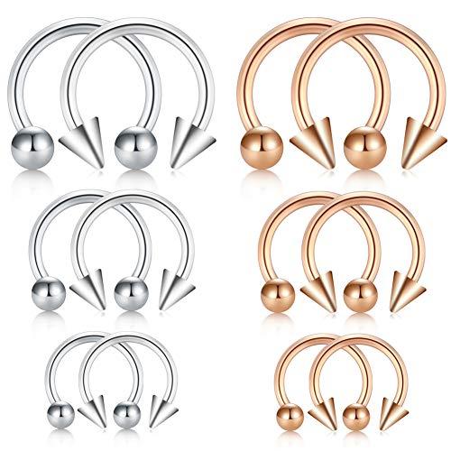 Jforyou 14g (1.2mm) 6 paio orecchino in acciaio inossidabile piercing a ferro di cavallo per orecchio seno trago labbra naso setto orecchino anello cerchio,interno diametro 6/8/10mm