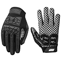‏‪Seibertron Lineman 2.0 Padded Palm Football Receiver Gloves, Flexible TPR Impact Protection Back of Hand Glove Adult Sizes Black L‬‏