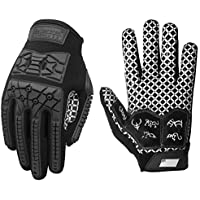 Seibertron Lineman 2.0 Padded Palm Football Receiver Gloves, Flexible TPR Impact Protection Back of Hand Glove Adult Sizes Black XXL