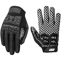Seibertron Lineman/Linebacker Handschuhe 2.0 Padded Palm American Football Receiver Gloves, Flexibler TPR-Aufprallschutz Back of Hand Handschuhe