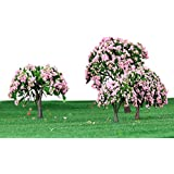 GoolRC 4 Stück Kunststoff Modell Bäume Zug Layout Garten Landschaft Weiß und rosa Blumen Bäume Diorama Miniatur Rosa