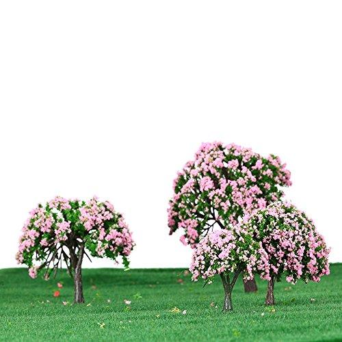 GoolRC 4 Stück Kunststoff Modell Bäume Zug Layout Garten Landschaft Weiß und rosa Blumen Bäume Diorama Miniatur Rosa Miniatur-zug