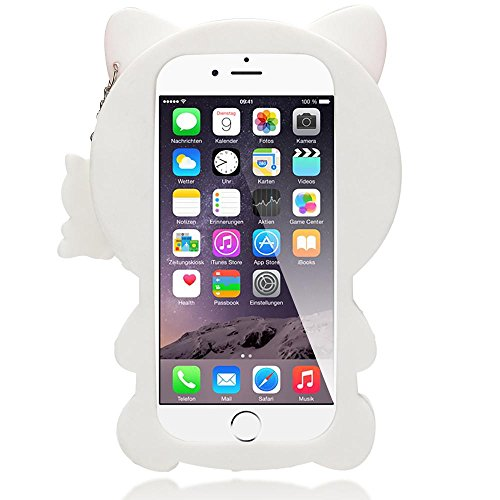 iPhone 6 6S 3D Hülle Handyhülle von NICA, Dünnes Silikon Cartoon-Case Cover Stoßfeste Anti-Rutsch Schutzhülle, Backcover Handy-Tasche Bumper Phone Etui für Apple iPhone-6S 6, Designs:White Cat White Kitty