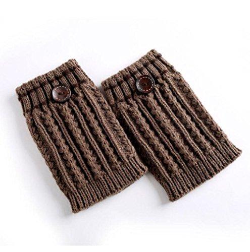 Rosennie Damen Gestrickt Wärmer Socken Stiefel Abdeckung (Khaki)