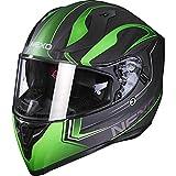 Nexo Integral-Helm Motorrad Voll-Visier-Helm Sport II, herausnehmbare Polster, mehrfache Be-, Entlüftung, Windabweiser, klares Visier, Ratschenverschluss, Gewicht: 1.350 g (+/- 50 g), Grün Dekor, XL