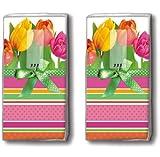 2x 10 Taschentücher Tulips and stripes – Tulpen und Streifen / Frühling / Motivtaschentücher