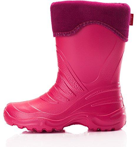 LEMIGO superleichte EVA Kinder Gummistiefel gefüttert Regenstiefel 861 (pink 28/29)