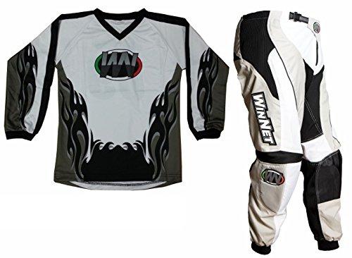 Completino maglia maglietta + pantalone bimbo e bambino per moto da cross mini quad bmx nero/bianco/grigio