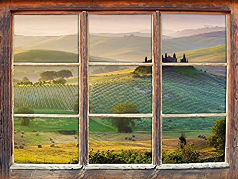 Beautiful misty Tuscan landscape window 3D Wall Stickers Format: 62x42cm Wall Decoration 3D Wall Stickers Wall Decals