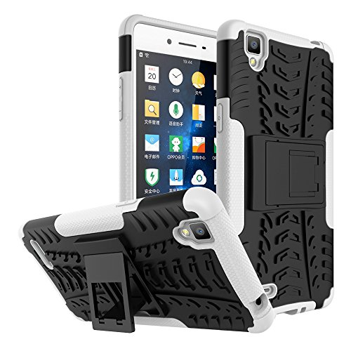BCIT Oppo F1 Hülle - Dual Layer Rugged Armor Drop Resistance Handys SchutzHülle mit Ständer für Oppo F1 - Weiß