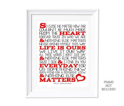 Song Lyrics A3 Metallica Artwork Wall Art Typography Poster Print Nothing Else Matters
