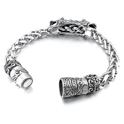 MunkiMix Acier Inoxydable Bracelet Bracelet Blé Lien Zircon CZ Oxyde de Zirconium Lion Léopard Celtic Celtique Medieval Croix Anneau Bague Magnétique Fermoir Homme Argent