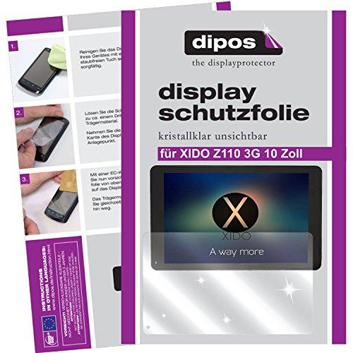dipos I 2X Schutzfolie klar passend für XIDO Z110 3G 10 Zoll Folie Bildschirmschutzfolie