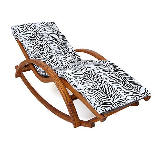 Relax Schaukelstuhl Rio braun | Gartenliege aus vorbehandeltem Holz wetterfest | Relaxliege mit Armlehnen & Auflage | Stuhl Bespannung braun