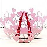 BC Worldwide Ltd Artisanat en papier origami fait à la main 3D pop up popup carte amoureux rouge couple rose coeur carte de la saint-valentin carte d'anniversaire fiançailles carte de mariage invitation anniversaire