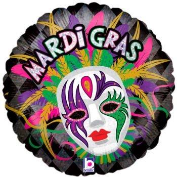 Mardi Gras Maske & Federn Holografische Folie Ballon (Masken Für Mardi-gras-party)