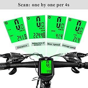 Ciclocomputador Bicicleta Inalámbrico, ECHOICE Cuentakilómetros Bicicleta Carretera y Montaña MTB con Luz, Velocimetro Bicicleta Sin Cable