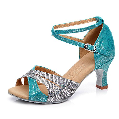 Foto de Xianshu Mujeres Latín Baile Zapatos Cross Correa Tobillo Hebilla Lentejuelas Pescado Boca Sandalias Medio Talón Zapatillas (Azul eléctrico-35 EU)