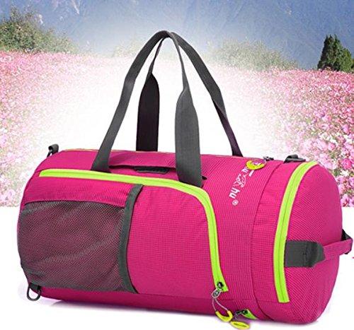 Nylon spalla borse borse all'aperto per uomini e donne canna esterna mano-spalla zaino multifunzionale borsa zaino pieghevole , purple rose red