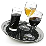 drinkstuff Anti-Skid Tray Mat for 12inch Waiters Tray - 9.25 Inch Bar Tray Mat, Black Rubber Mat for Circular Trays