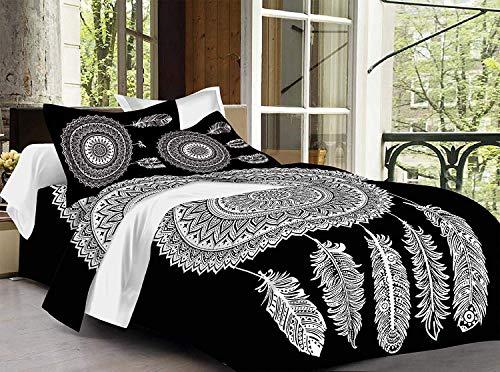 Lakshita Enterprises 100% Cotton Double Bedsheet Black and White Fiesta with 2 Pillow Covers- King Size, Black (270 cm X 225 cm)