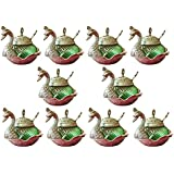 Crafticia Oxidized White Silver Metal Single Duck Shaped Glass Bowl Green Set Of 10 Decorative Antique Unique Traditional Handmade Handicraft Gift Item Home Table Wall Decor Pink City Rajasthani Showpiece :- 5 X 5 Inch