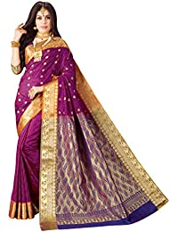 Craftsvilla Women's Bangalore Silk Traditional Zari Border Purple Saree with blouse piece
