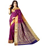 Craftsvilla Women's Bangalore Silk Traditional Zari Border Purple Saree with blouse piece