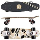 FunTomia Mini-Board Cruiser Skateboard 57cm aus 7-lagigem kanadischem Ahornholz inkl. ABEC-11 MACH1 Kugellager - mit oder ohne LED Rollen (Mini-Board Weiß Totenkopf / mit schwarzen Rollen / aus Ahornholz)