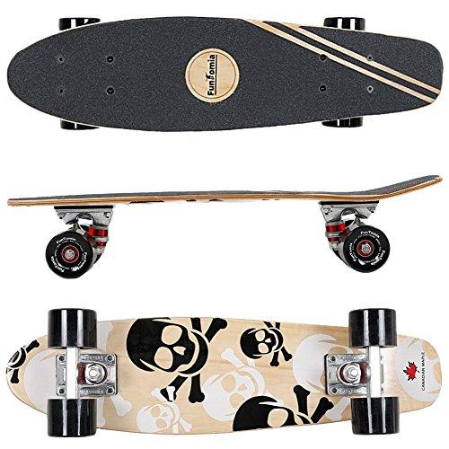 FunTomia Mini-Board Cruiser Skateboard 57cm aus 7-lagigem kanadischem Ahornholz inkl. Mach1 ABEC-11 Kugellager - mit Oder Ohne LED Rollen (Weiß Totenkopf2 / mit Schwarzen Rollen)