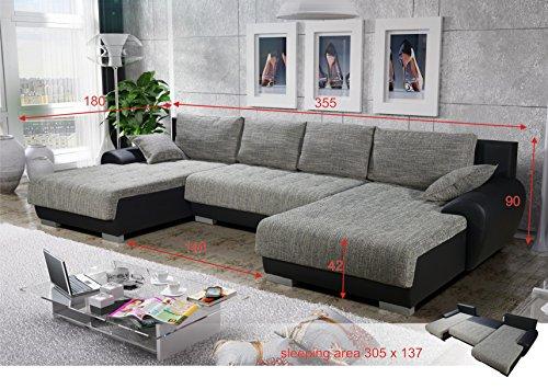 LEON Wohnlandschaft mit Bettfunktion in U-Form Sofa mit Schlaffunktion