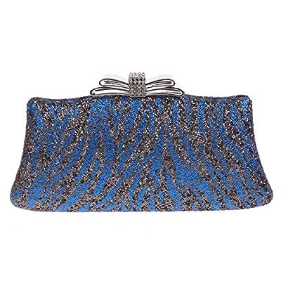 Bonjanvye Zebra Pattern Bow Glitter Handbags For Womens Purses And Clutches