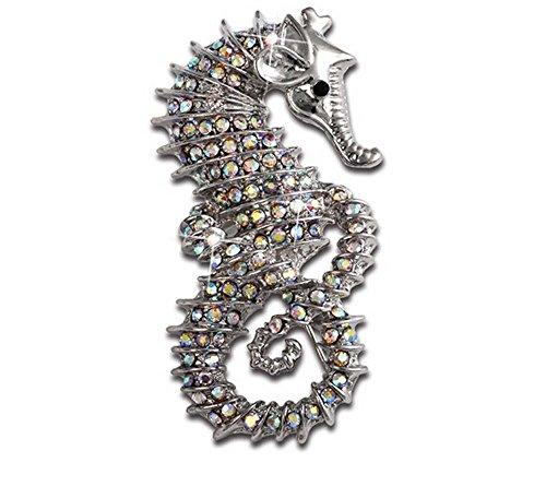 Creativo Pin de la broche del esmalte Personalidad Linda Hipocampo Diamante Broche de animales plata