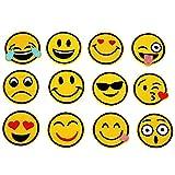 Emoji Patches,Patch Sticker, Niedlich DIY Kleidung Patches Aufkleber Sommer-Thema für T-Shirt Jeans Kleidung Taschen,12 Stück