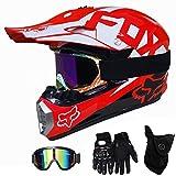 QYTK Casque Moto Cross Enfant Rouge et Blanc, MT-59 Full Face Moto Off-Road Helmet...