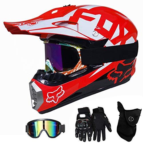 QYTK Casque Moto Cross Enfant Rouge et Blanc, MT-59 Full Face Moto Off-Road Helmet Cross Helm avec Lunettes Gants Masque, VTT BMX Motocross Sécurité Sport Extérieure,M(54~55CM)