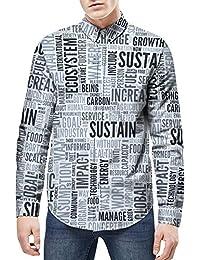 d9906e4397b09 Camiseta de Manga Larga de periódico de Verano para Hombre