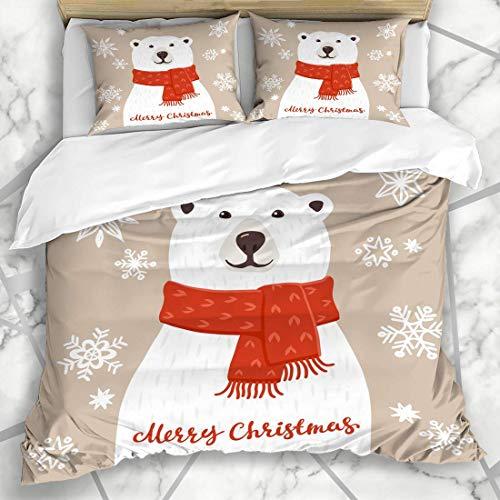 Eisbär Kostüm Muster - ZOANEN Bettwäsche - Bettwäscheset Aufschrift-Schal-Eisbär-Kostüm-Winterurlaub-Sankt-Aufkleber-Grenze der frohen Weihnachten glücklich Mikrofaser weich dreiteilig200*200