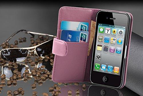 Cadorabo - Etui Housse pour Apple iPhone 4 / 4S / 4G - Coque Case Cover Bumper Portefeuille (avec fentes pour cartes) en ALBÂTRE BLANC ROSE BONBON