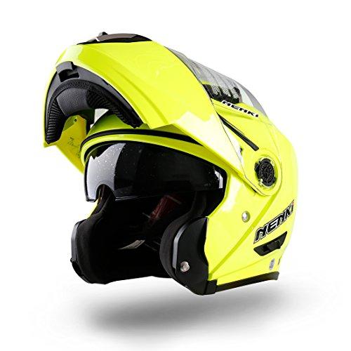 NENKI NK-860 casco de la moto de la motocicleta ciclomotor tirón encima de cascos modulares Crash para Hombre Large Hi Viz