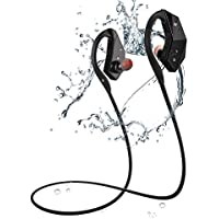 8 GB Waterproof Bluetooth Headphones, Bluetooth 4.1 IPX8 Sweatproof HiFi Stereo Earphones earbuds Built-in Mic with Noise Cancelling Tech for Running Jogging (NOTE: Bluetooth can not be used when swimming; While swimming, it should be memory mode)