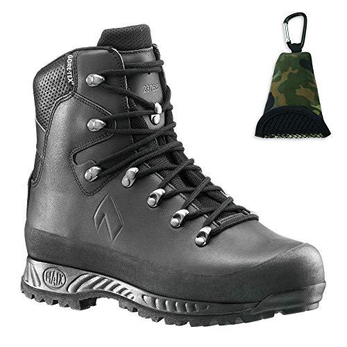 Haix KSK 3000 Einsatz-Stiefel aus Leder, Schwarz, Wasserdicht, Gore-Tex, Sun-Reflect, Berg-Schuh, Atmungsaktiv mit Klimakomfort + Bundeswehr Mikrofaser Buddy-Towel, Gr. 41-45 (45)