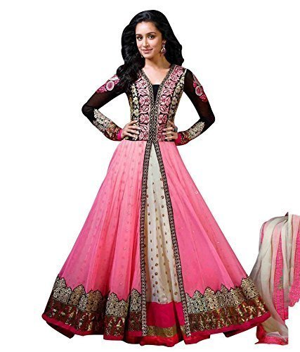 Aarvicouture Women's gown Latest Party Wear Pink Net silk Embroidery Free Size...