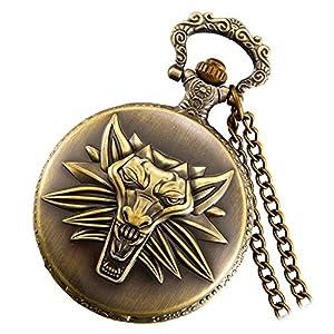 Lancardo Retro Damen Herren Taschenuhr, Wolf Kopf Kettenuhr Analog Quarz Uhr 1224H digital Ziffern Zifferblatt mit Halskette, Pocket Watch in Farben Bronze