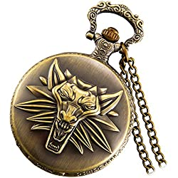 Lancardo Witcher 3 Wild Hunt Embossed Wolf Head Pendant Pocket Watch with Chain