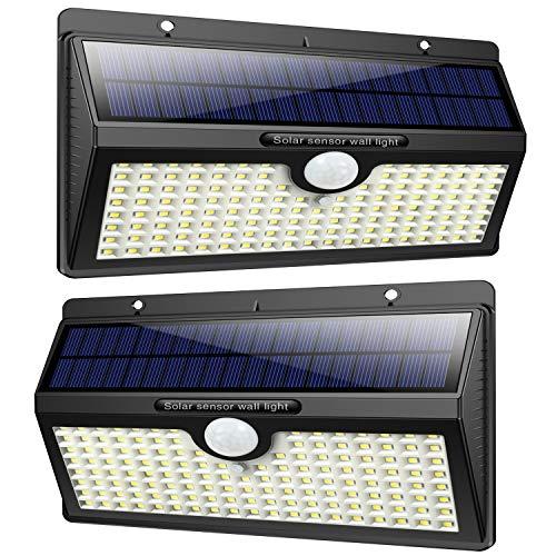 Luce solare led esterno, feob【2500 mah】138 led lampada solare con sensore di movimento luci solari da parete impermeabile ip65 luci di sicurezza solare led con 3 modalità-[2 pezzi]